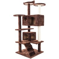 52 Pet Cat Tree Play Tower Bed Furniture Scratch Post Tunnel Toy Mouse Pet Kitty Play House - Brown
