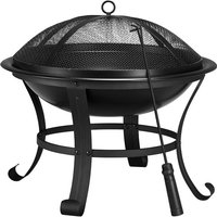 54cm Outdoor Square Fire Pit BBQ Fire Pit Brazier Multi-function Large Garden Patio Heater With Poker/ Dust Mesh