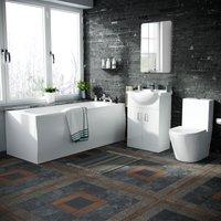 550 Basin Vanity Unit, Close Coupled WC Toilet with Straight Edge Bath Bathroom Suite