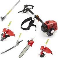 62cc Petrol 5 in 1 Garden Multi-Tool Long Reach Trimmer Cutter Chainsaw Pruner