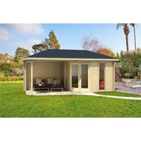 Clifton Log Cabins - 5.8m x 3m Budget Apex Log Cabin + Porch (226) - Double Glazing (40mm Wall Thickness)