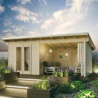 Cheshire Log Cabins(r) - 5.9mm x 3.1m Oasis Log Cabin and Entertainment Area - 28mm Wall Thickness