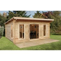 5m x 4m Large Pent Contemporary Log Cabin - 44mm Wall Thickness **Includes Free Shingles**
