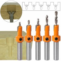 Drillpro - 5pcs Carbide Tip 8mm Shank HSS Woodworking Milling Machine Router Bit Set Screw Extractor Remon Demolition For Woodworking Milling Cutter