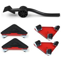 5pcs Heavy Duty Furniture Slider Lifter Movers Tool Kit Roller Transport Trolley red