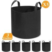 5PCS/Set Grow Pots Breathable Planter Fabric Bag Basket 3 Ga