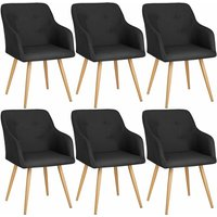 6 Chairs Tanja - desk chair, lounge chair, reading chair - black - TECTAKE