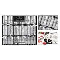6 Deluxe Glitter Christmas Crackers Family Xmas Party Dining Table Matte Silver - RSW
