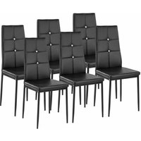 Tectake - 6 dining chairs with rhinestones - dining room chairs, kitchen chairs, dining table chairs - black