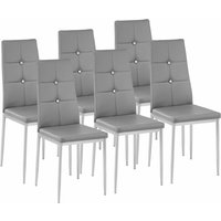 Tectake - 6 dining chairs with rhinestones - dining room chairs, kitchen chairs, dining table chairs - grey
