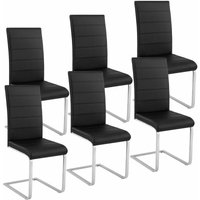 Tectake - 6 dining chairs rocking chairs - dining room chairs, kitchen chairs, dining table chairs - black