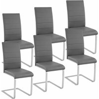 Tectake - 6 dining chairs rocking chairs - dining room chairs, kitchen chairs, dining table chairs - grey