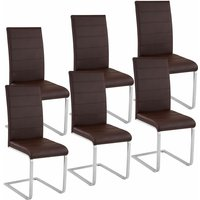 Tectake - 6 dining chairs rocking chairs - dining room chairs, kitchen chairs, dining table chairs - brown