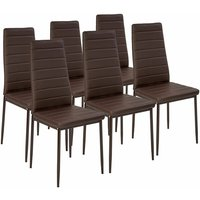 6 dining chairs synthetic leather - dining room chairs, kitchen chairs, dining table chairs - brown