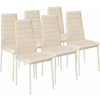 6 dining chairs synthetic leather - dining room chairs, kitchen chairs, dining table chairs - beige - TECTAKE