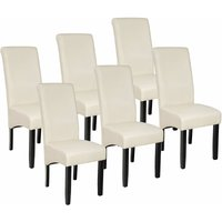 6 Dining chairs with ergonomic seat shape - dining room chairs, kitchen chairs, dining table chairs - cream
