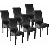 Tectake - 6 Dining chairs with ergonomic seat shape - dining room chairs, kitchen chairs, dining table chairs - black