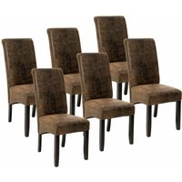 6 Dining chairs with ergonomic seat shape - dining room chairs, kitchen chairs, dining table chairs - antique brown