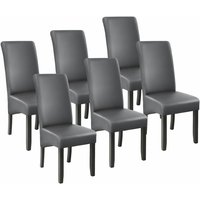 Tectake - 6 Dining chairs with ergonomic seat shape - dining room chairs, kitchen chairs, dining table chairs - grey