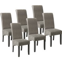 Tectake - 6 Dining chairs with ergonomic seat shape - dining room chairs, kitchen chairs, dining table chairs - gray marbled