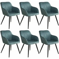6 Marilyn Fabric Chairs - blue/black
