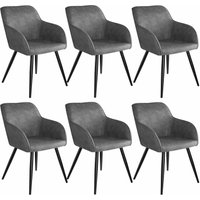 6 Marilyn Fabric Chairs - grey/black