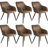 6 Marilyn Fabric Chairs - brown/black - TECTAKE