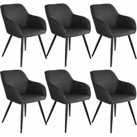 6 Marilyn Fabric Chairs - anthracite/black - TECTAKE