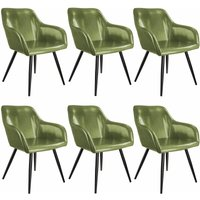 6 Marilyn Faux Leather Chairs - dark green/black