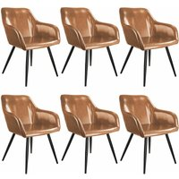 6 Marilyn Faux Leather Chairs - brown/black