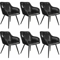 6 Marilyn Faux Leather Chairs - black