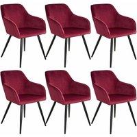 6 Marilyn Velvet-Look Chairs - burgundy/black
