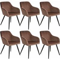 6 Marilyn Velvet-Look Chairs - brown/black
