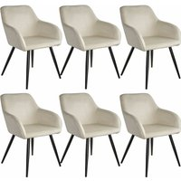 6 Marilyn Velvet-Look Chairs - black/cream - TECTAKE