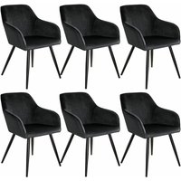 6 Marilyn Velvet-Look Chairs - black - TECTAKE