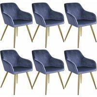 6 Marilyn Velvet-Look Chairs gold - blue/gold