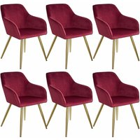 6 Marilyn Velvet-Look Chairs gold - bordeaux/gold - TECTAKE