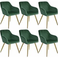 6 Marilyn Velvet-Look Chairs gold - dark green/gold - TECTAKE