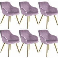 6 Marilyn Velvet-Look Chairs gold - pink/gold - TECTAKE