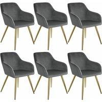 Tectake - 6 Marilyn Velvet-Look Chairs gold - dark gray/gold