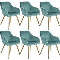 6 Marilyn Velvet-Look Chairs gold - turquoise/gold - TECTAKE