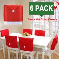 Bearsu - 6 PACK Christmas Chair Covers Christmas Decoration Santa Hat Chair Back Covers Chair Covers Caps Slipcovers Set for Christmas Festive Home