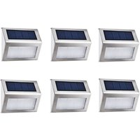 [6 Package] Exterior Solar Lamp 4 LED EasternStar, Outdoor Lighting Solar Waterproof Stainless Steel For Fence Garden Staircase Patio Patio (White