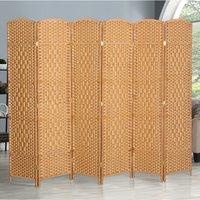 6 Panel Floor Standing Room Divider Folding Screen, Light Brown
