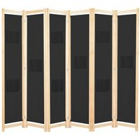 6-Panel Room Divider Black 240x170x4 cm Fabric - YOUTHUP
