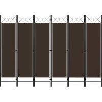 6-Panel Room Divider Brown 240x180 cm - YOUTHUP