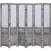 Zqyrlar - 6-Panel Room Divider Grey 210x165 cm Fabric - Grey