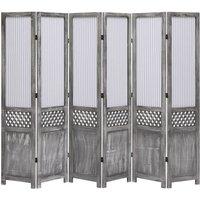 Betterlifegb - 6-Panel Room Divider Grey 210x165 cm Fabric16412-Serial number