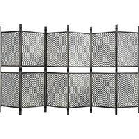 Zqyrlar - 6-Panel Room Divider Poly Rattan Anthracite 360x200 cm - Anthracite