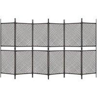 6-Panel Room Divider Poly Rattan Brown 360x200 cm - Brown